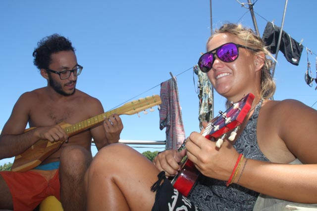 Marc & Chelsea playing ukulele